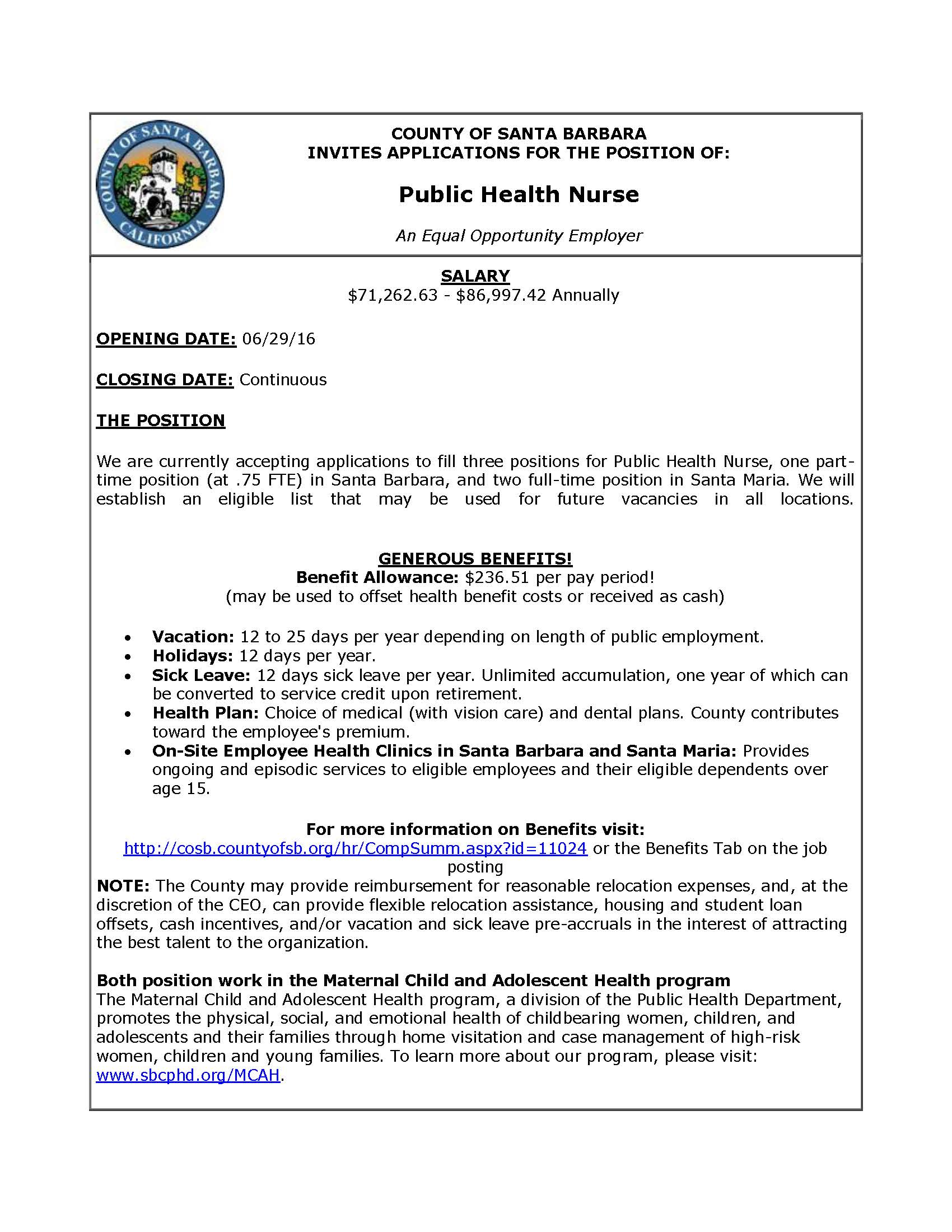 County of Santa Barbara Invites Applications for the Position of: Public Health Nurse. An equal opportunity employer