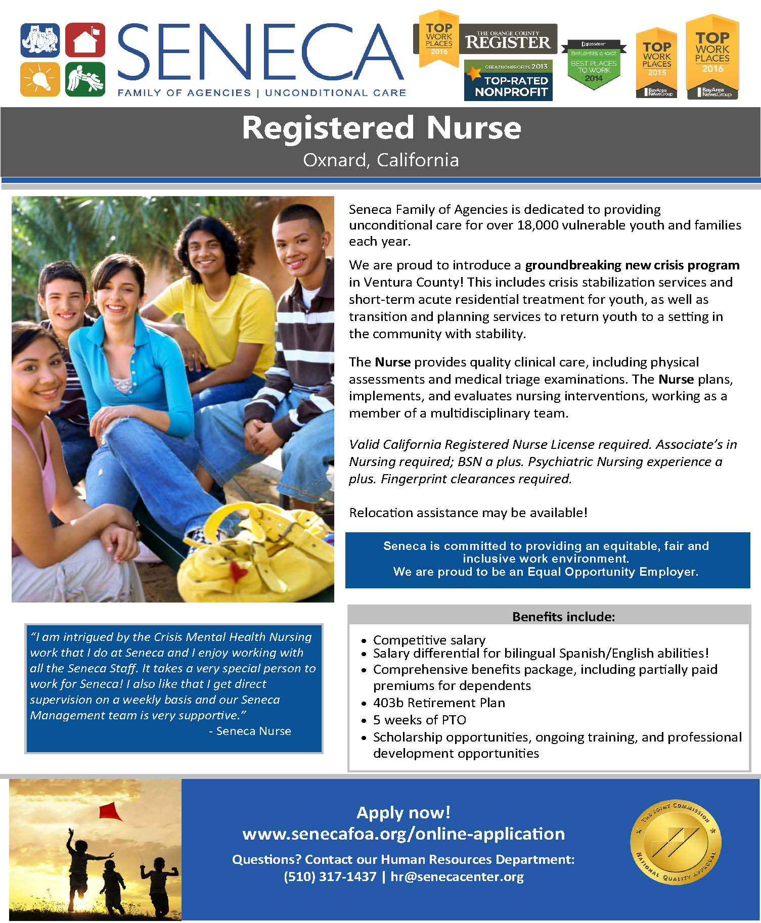 SENECA Registered Nurse Position